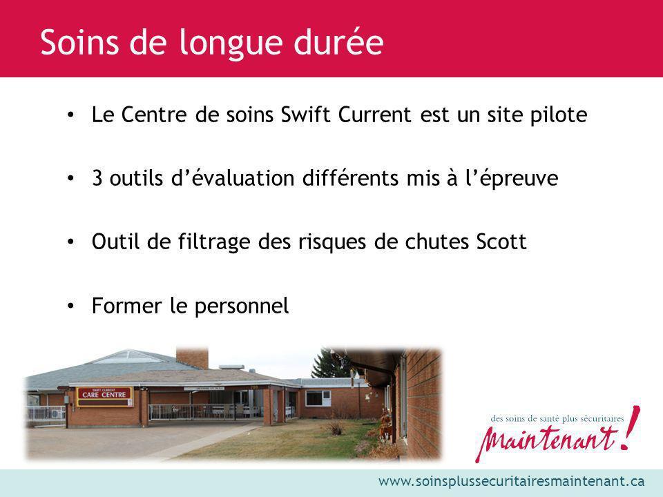 Soins de longue durée Le Centre de soins Swift Current est un site pilote. 3 outils d'évaluation différents mis à l'épreuve.