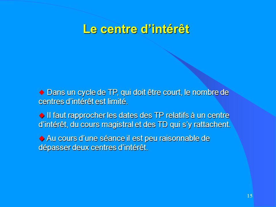 Le centre d'intérêt Dans un cycle de TP, qui doit être court, le nombre de centres d'intérêt est limité.