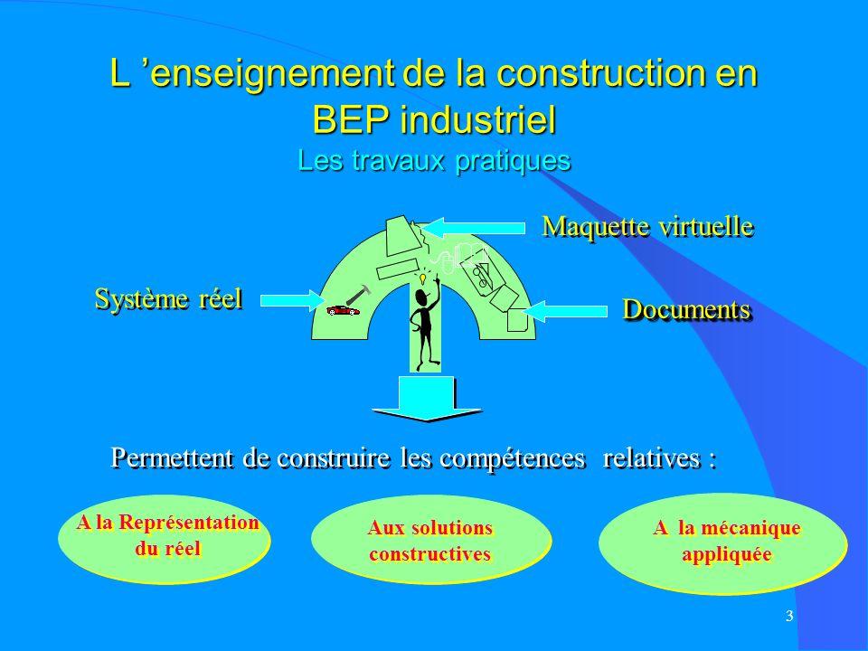 L 'enseignement de la construction en BEP industriel Les travaux pratiques