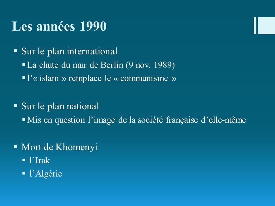 Les années 1990 Sur le plan international Sur le plan national
