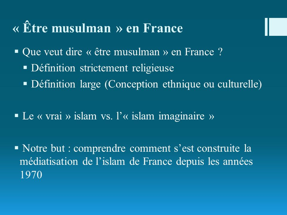 « Être musulman » en France