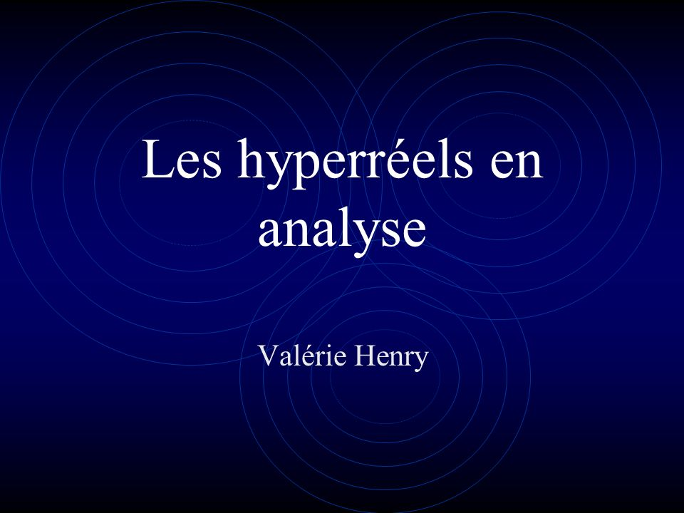Les hyperréels en analyse