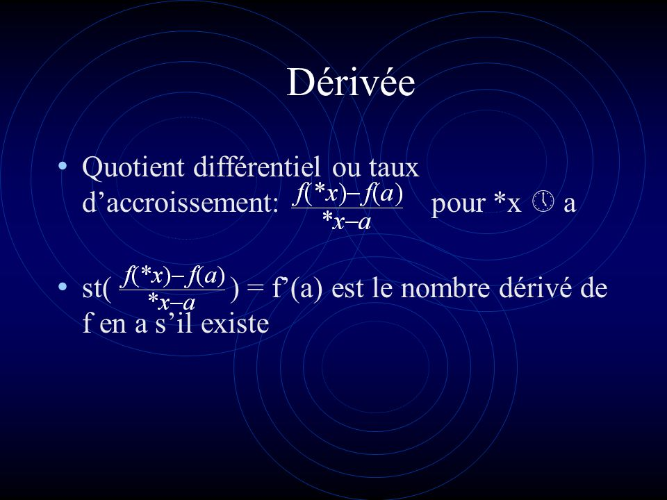 Dérivée Quotient différentiel ou taux d'accroissement: pour *x  a