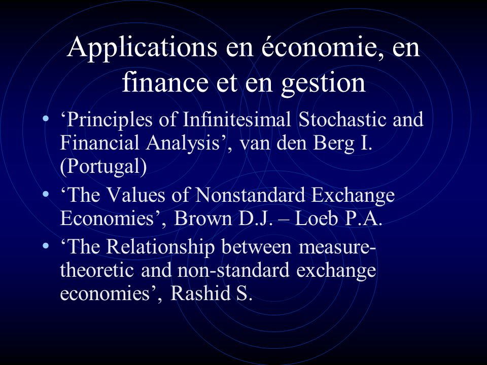 Applications en économie, en finance et en gestion