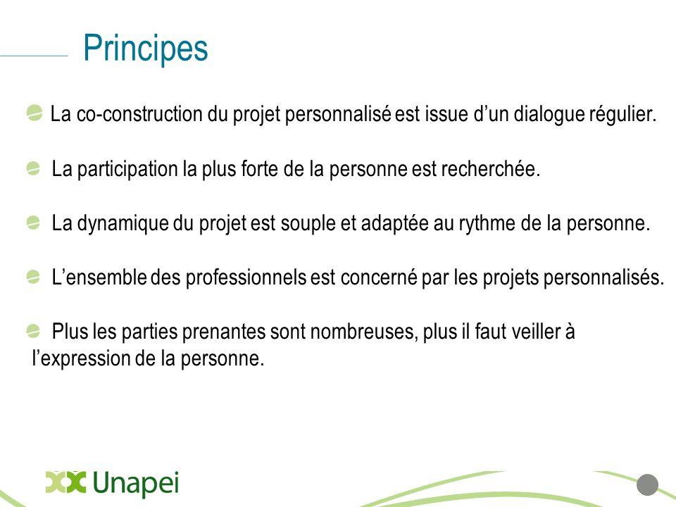 Principes La co-construction du projet personnalisé est issue d'un dialogue régulier. La participation la plus forte de la personne est recherchée.