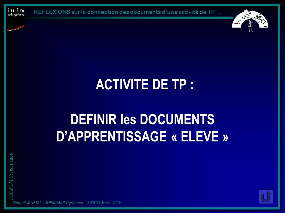 ACTIVITE DE TP : DEFINIR les DOCUMENTS D'APPRENTISSAGE « ELEVE »