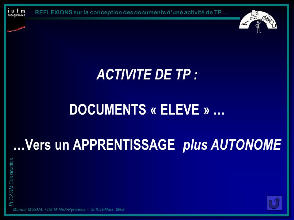 ACTIVITE DE TP : DOCUMENTS « ELEVE » … …Vers un APPRENTISSAGE plus AUTONOME