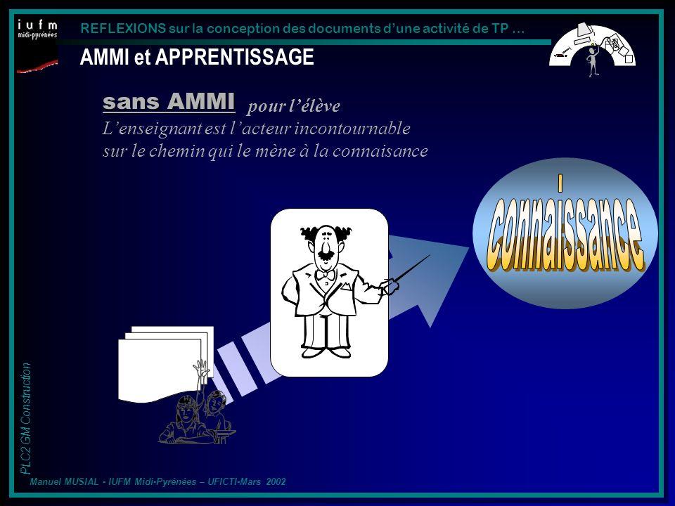 connaissance AMMI et APPRENTISSAGE sans AMMI pour l'élève