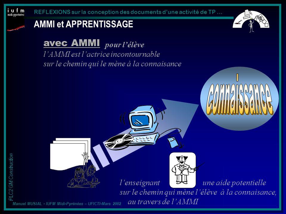 connaissance AMMI et APPRENTISSAGE avec AMMI pour l'élève