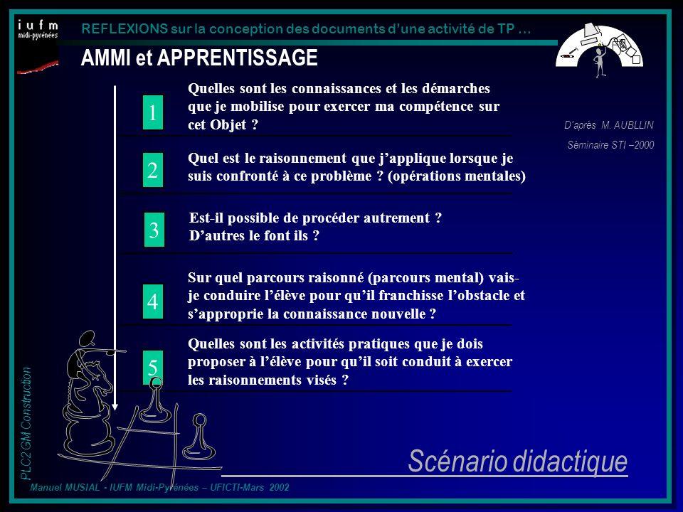 Scénario didactique AMMI et APPRENTISSAGE 1 2 3 4 5
