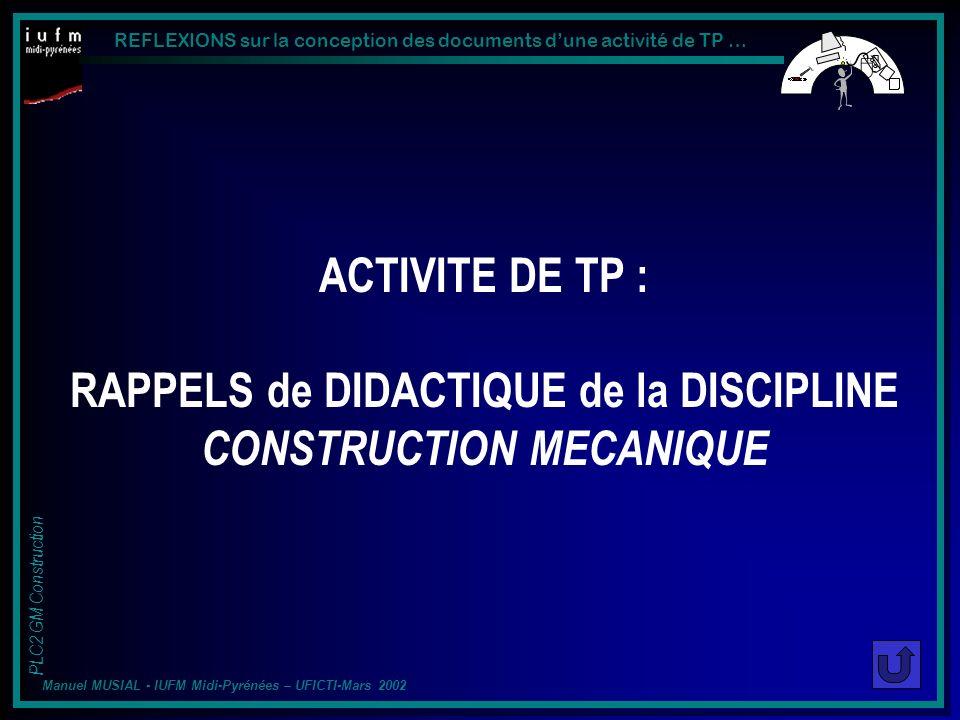 ACTIVITE DE TP : RAPPELS de DIDACTIQUE de la DISCIPLINE CONSTRUCTION MECANIQUE