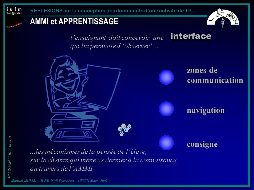 AMMI et APPRENTISSAGE interface zones de communication navigation