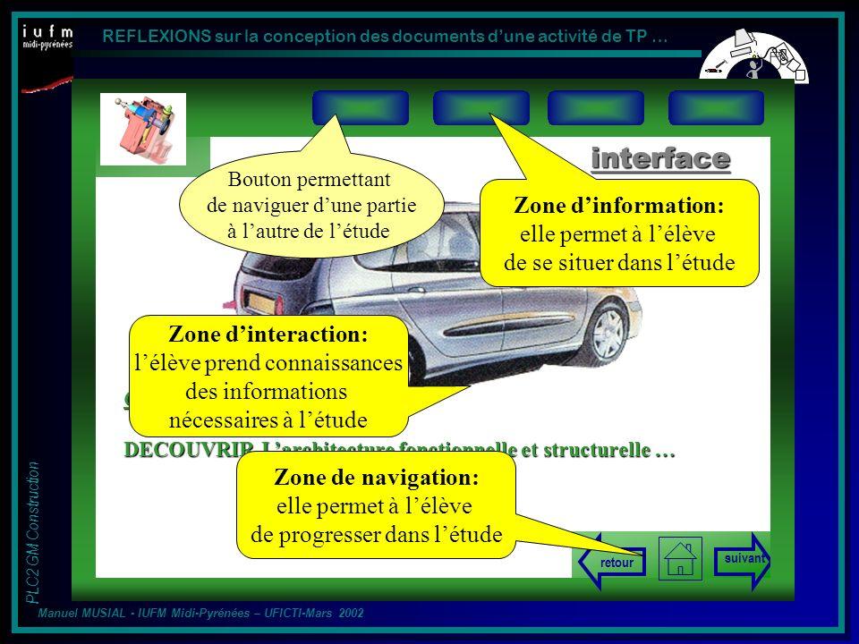 interface Zone d'information: elle permet à l'élève