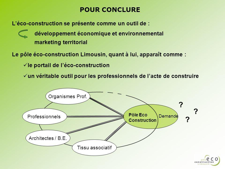 POUR CONCLURE L'éco-construction se présente comme un outil de :