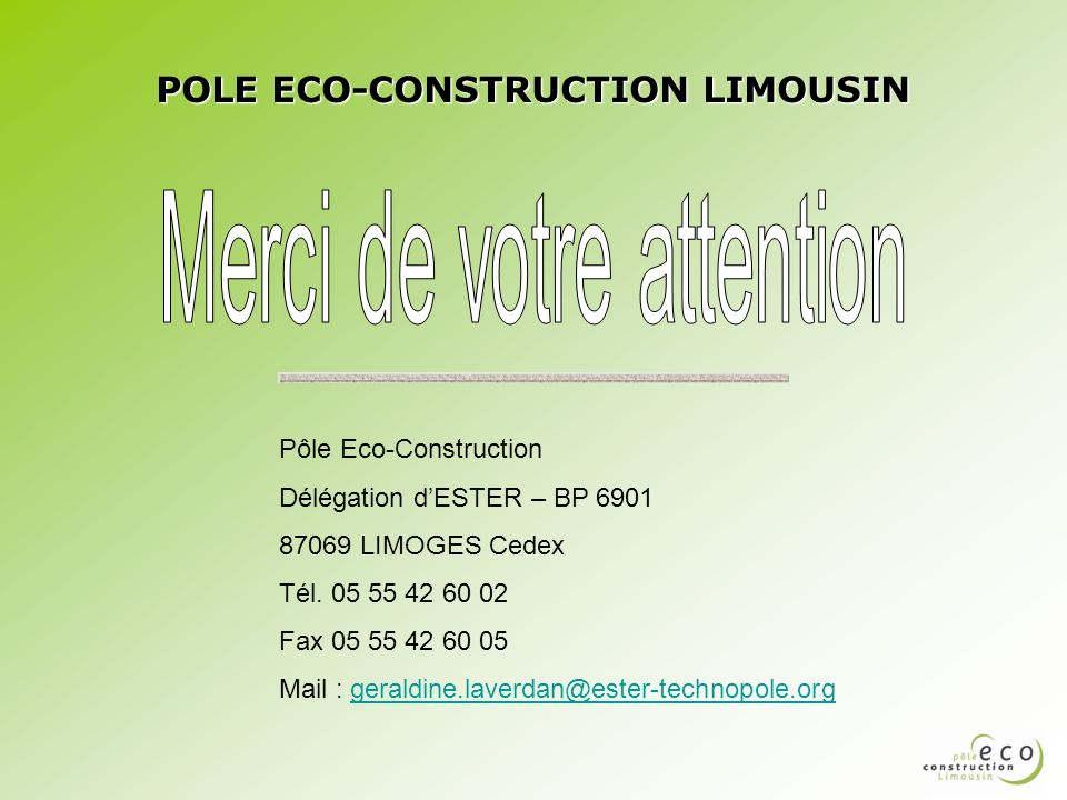POLE ECO-CONSTRUCTION LIMOUSIN