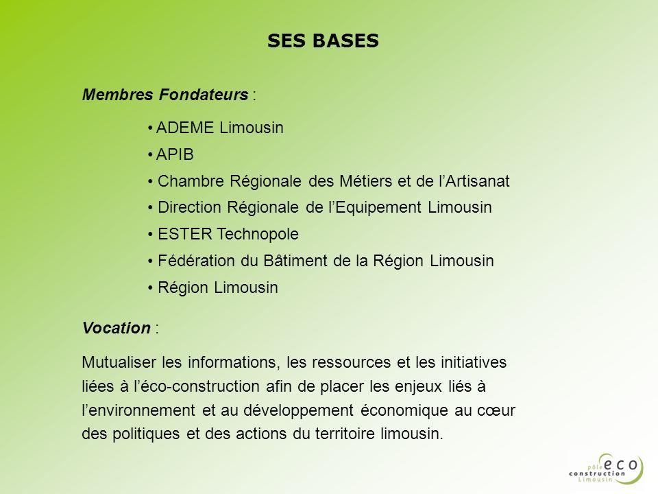 SES BASES Membres Fondateurs : ADEME Limousin APIB
