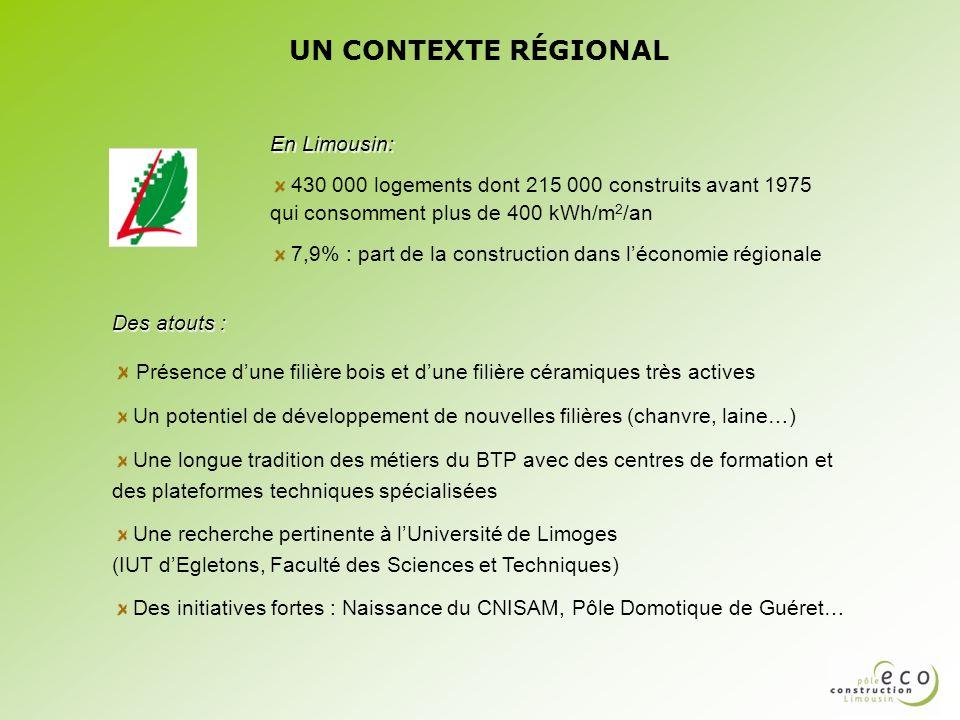 UN CONTEXTE RÉGIONAL En Limousin: 430 000 logements dont 215 000 construits avant 1975 qui consomment plus de 400 kWh/m2/an.