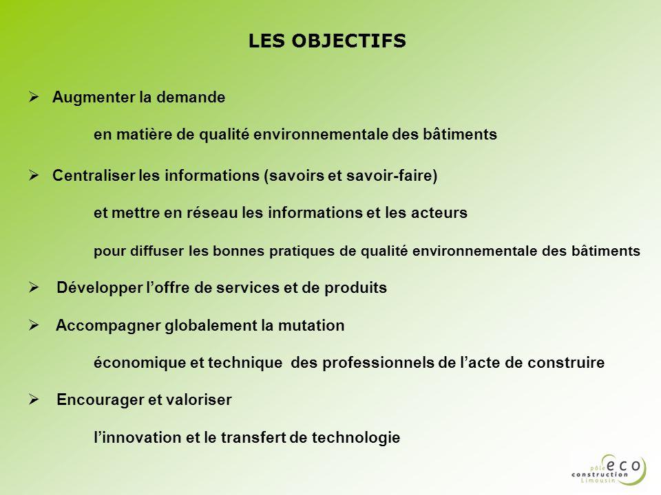 LES OBJECTIFS Augmenter la demande en matière de qualité environnementale des bâtiments.