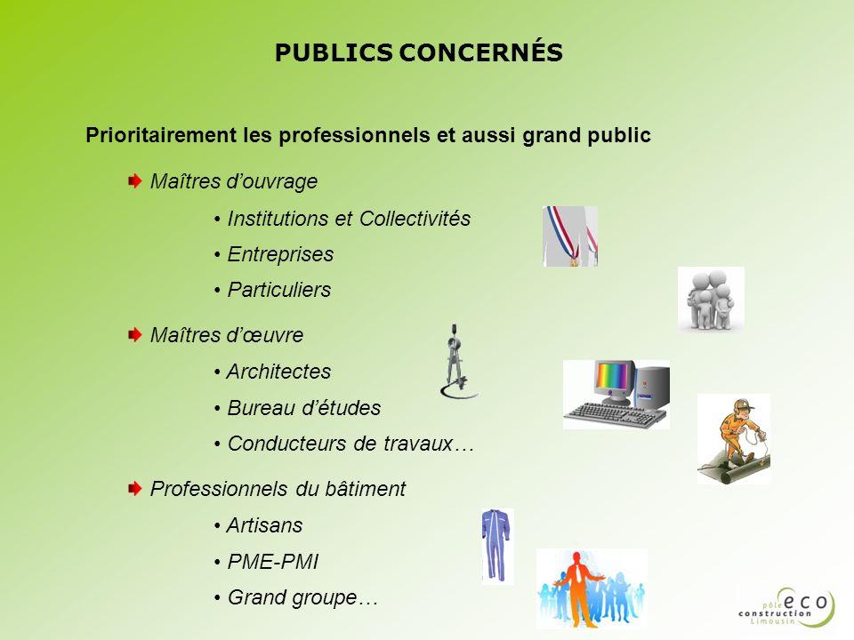 PUBLICS CONCERNÉS Prioritairement les professionnels et aussi grand public. Maîtres d'ouvrage. Institutions et Collectivités.