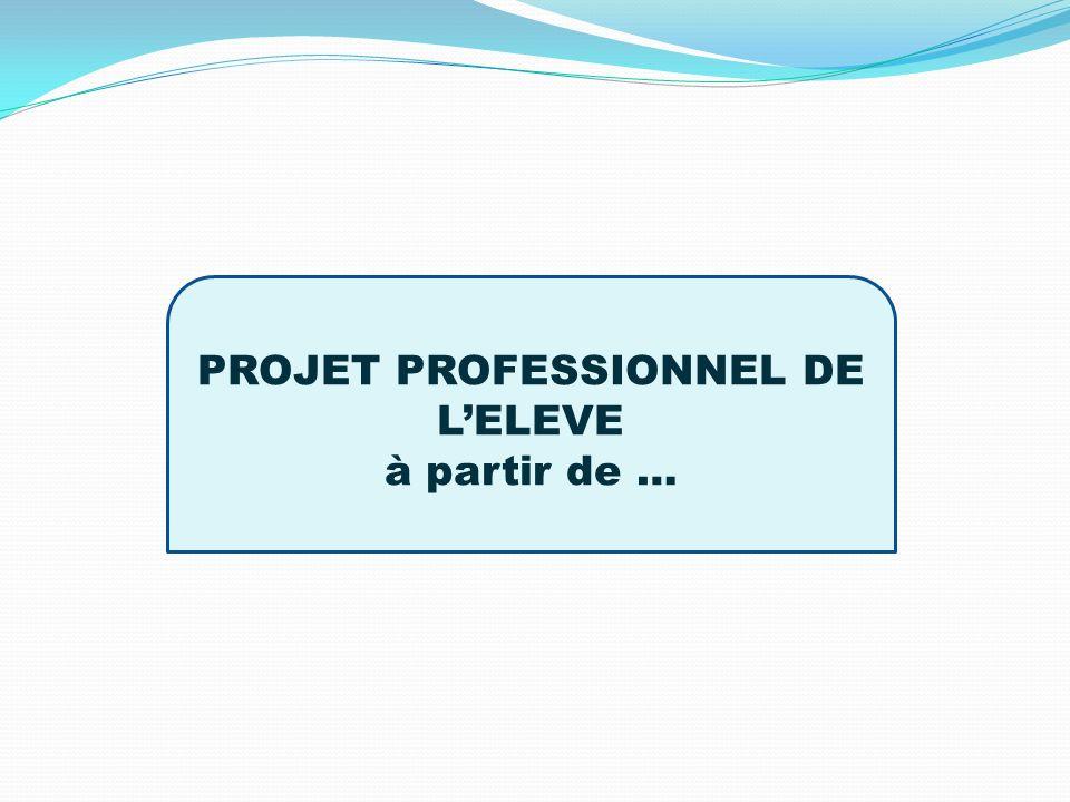 PROJET PROFESSIONNEL DE L'ELEVE