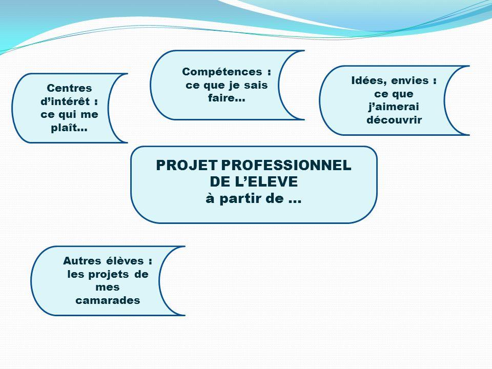 PROJET PROFESSIONNEL DE L'ELEVE à partir de …