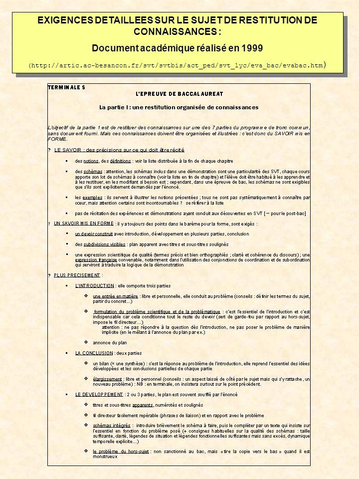 EXIGENCES DETAILLEES SUR LE SUJET DE RESTITUTION DE CONNAISSANCES :