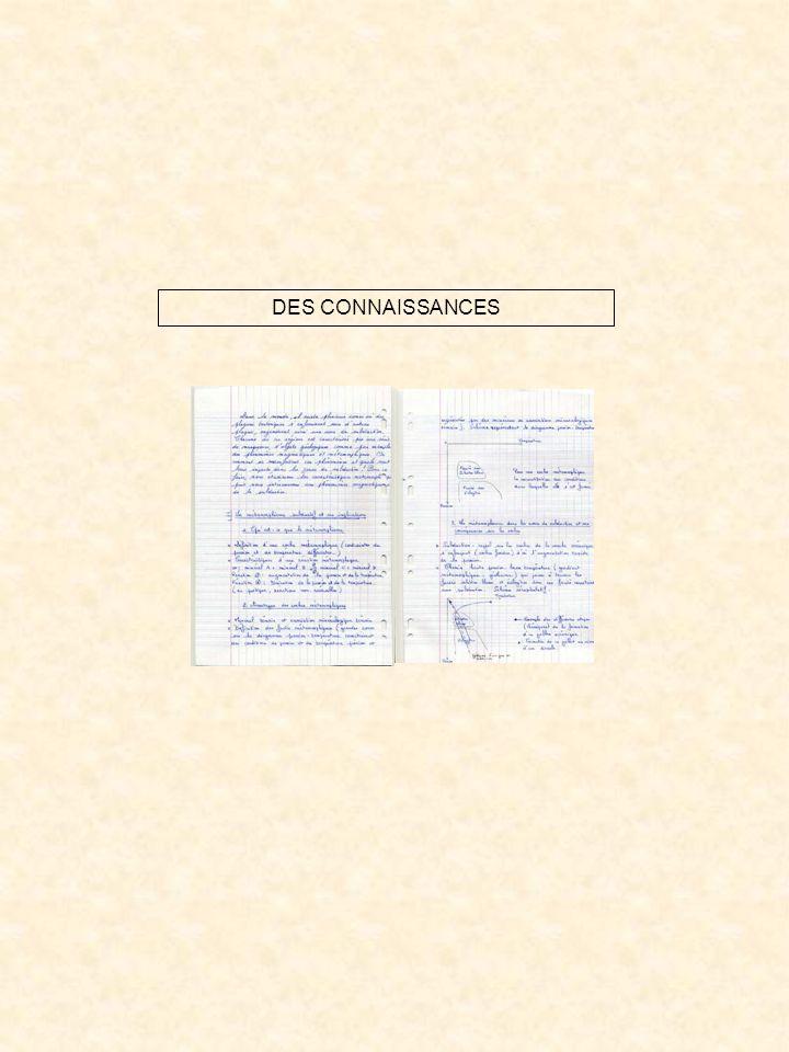 DES CONNAISSANCES
