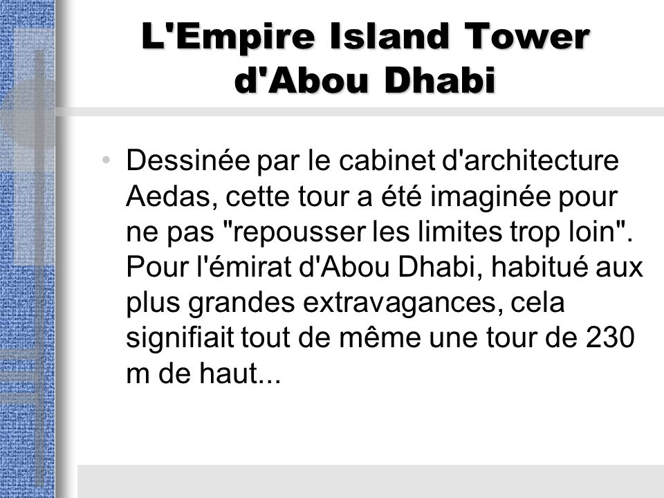 L Empire Island Tower d Abou Dhabi