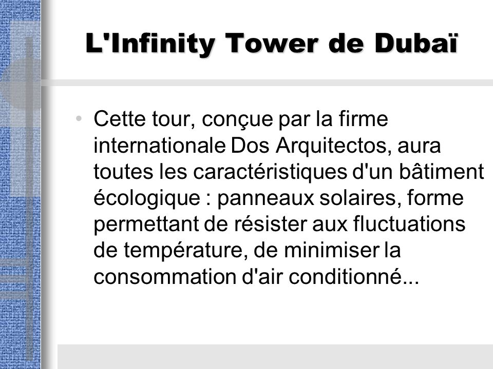L Infinity Tower de Dubaï