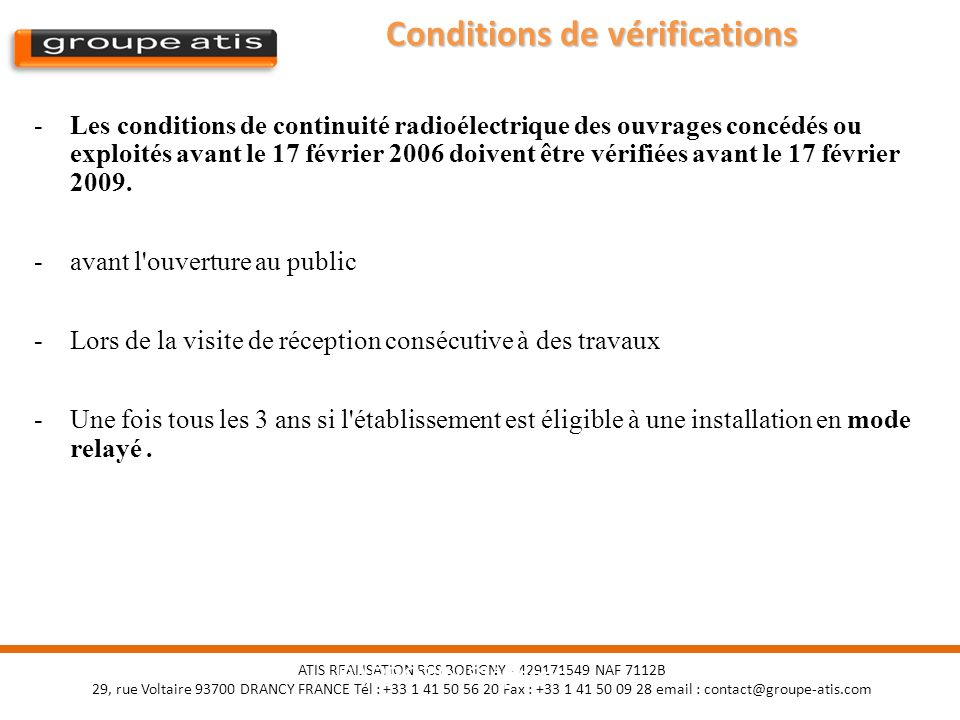 Conditions de vérifications