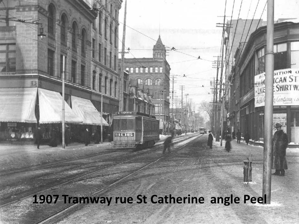 1907 Tramway rue St Catherine angle Peel