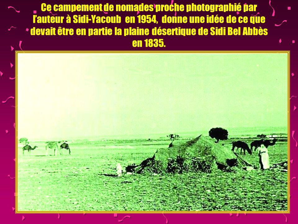 Ce campement de nomades proche photographié par l'auteur à Sidi-Yacoub en 1954, donne une idée de ce que devait être en partie la plaine désertique de Sidi Bel Abbès en 1835.