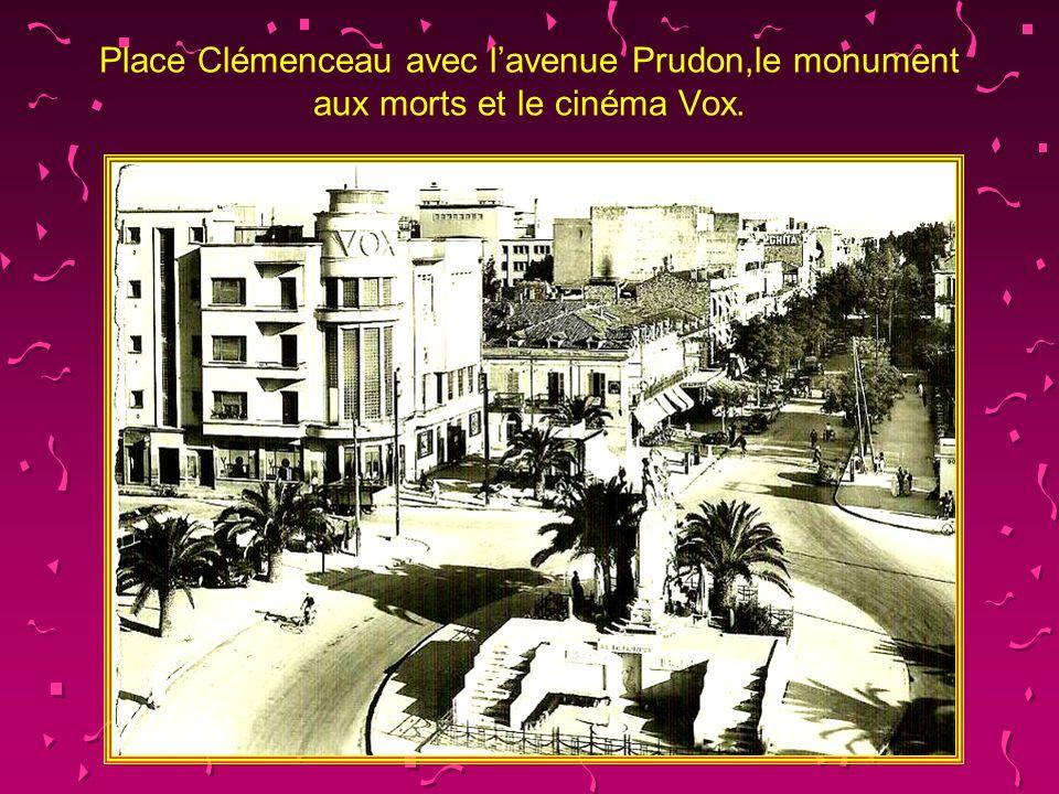 Place Clémenceau avec l'avenue Prudon,le monument aux morts et le cinéma Vox.