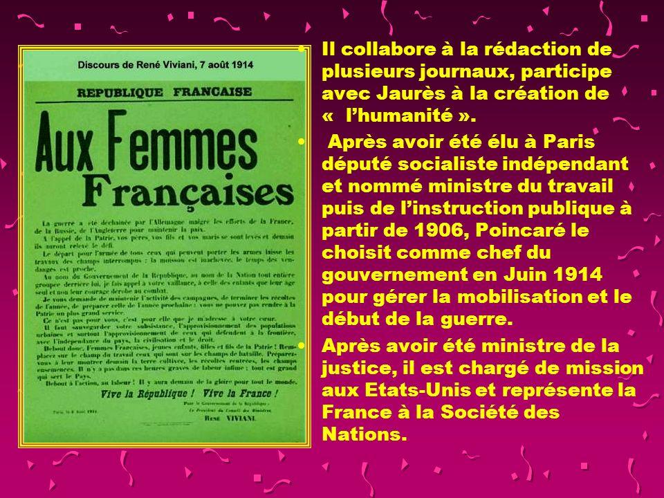 Il collabore à la rédaction de plusieurs journaux, participe avec Jaurès à la création de « l'humanité ».
