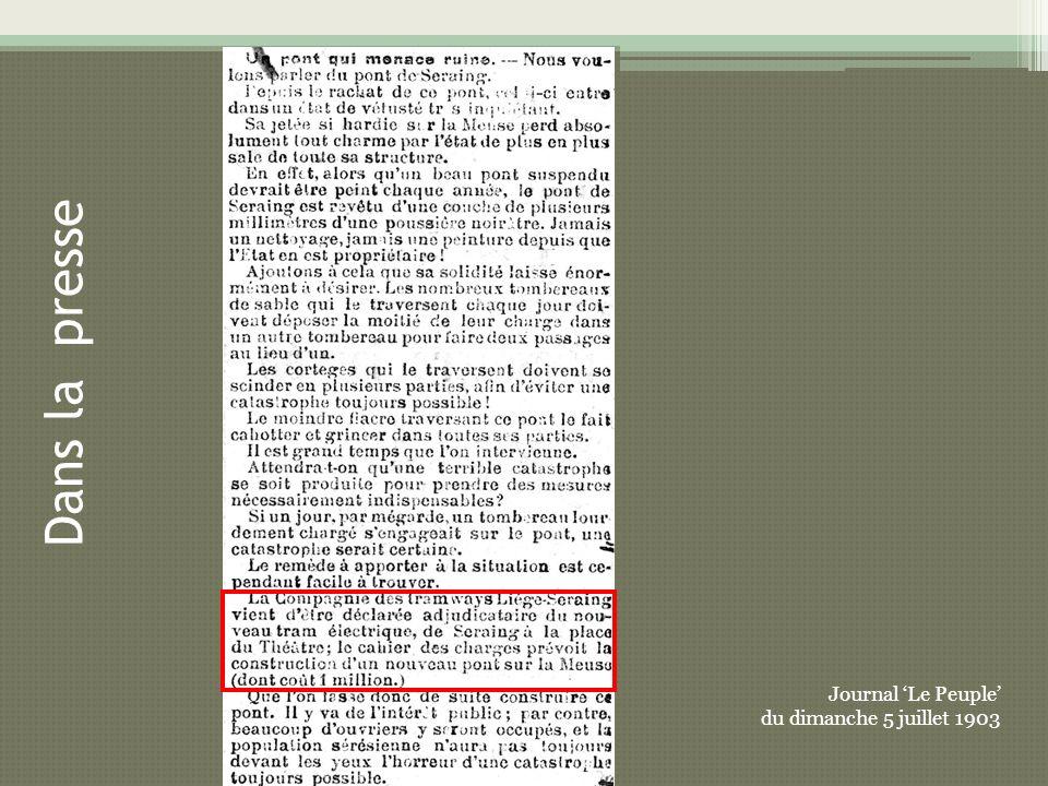 Dans la presse Journal 'Le Peuple' du dimanche 5 juillet 1903