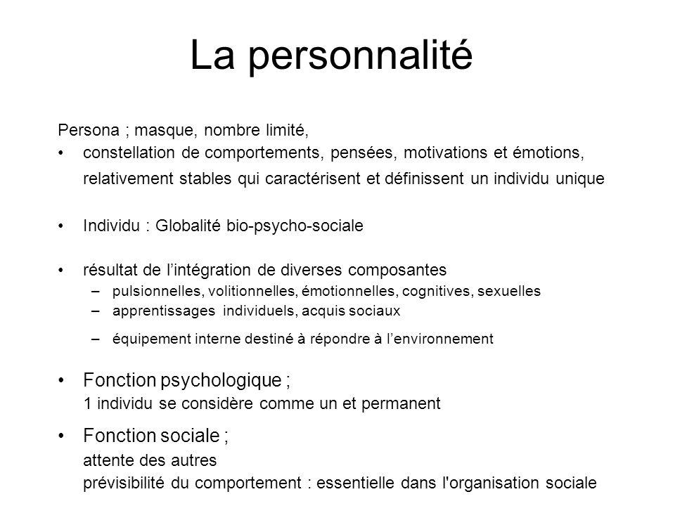 La personnalité Fonction psychologique ; Fonction sociale ;