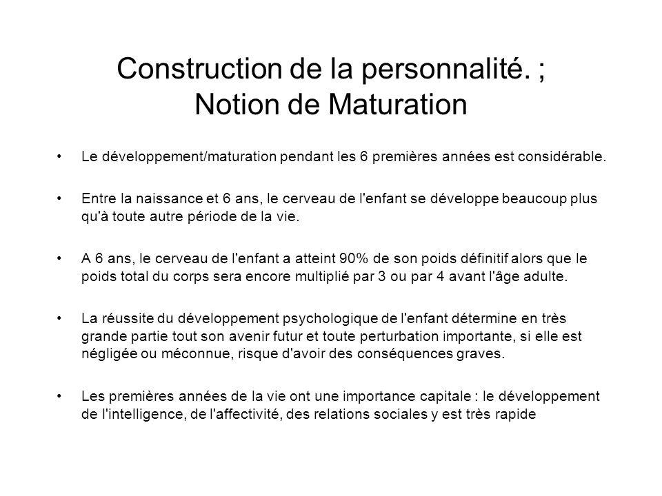 Construction de la personnalité. ; Notion de Maturation