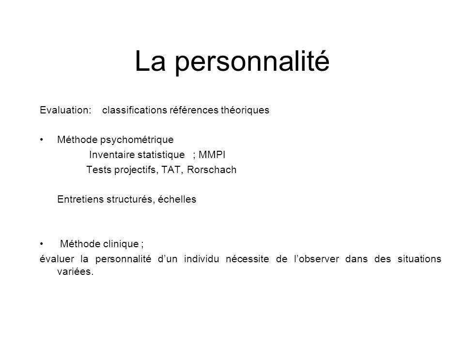 La personnalité Evaluation: classifications références théoriques