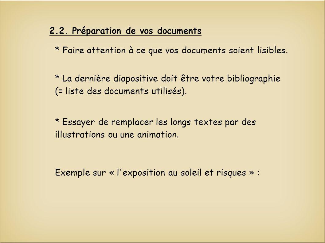 2.2. Préparation de vos documents