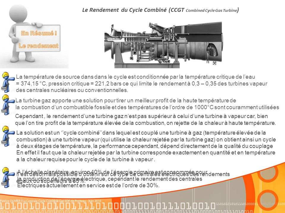 Le Rendement du Cycle Combiné (CCGT Combined Cycle Gas Turbine)