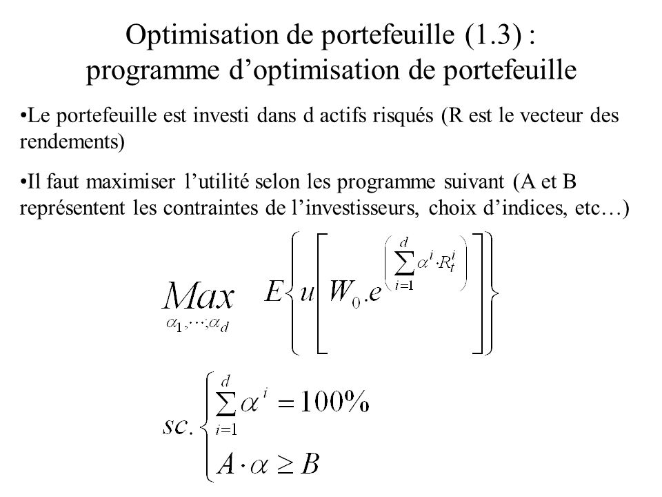 Optimisation de portefeuille (1