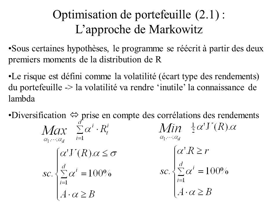 Optimisation de portefeuille (2.1) : L'approche de Markowitz