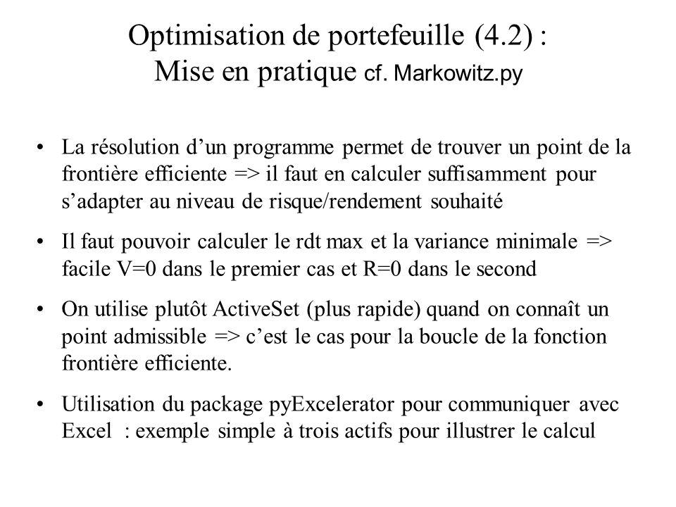 Optimisation de portefeuille (4.2) : Mise en pratique cf. Markowitz.py