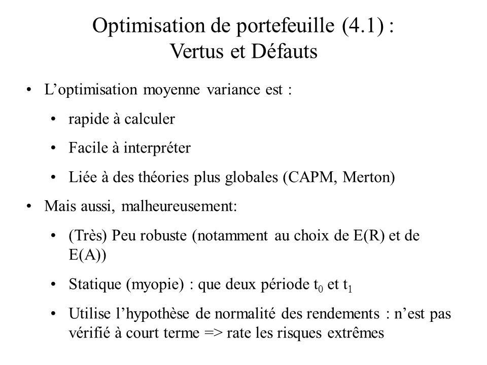 Optimisation de portefeuille (4.1) : Vertus et Défauts