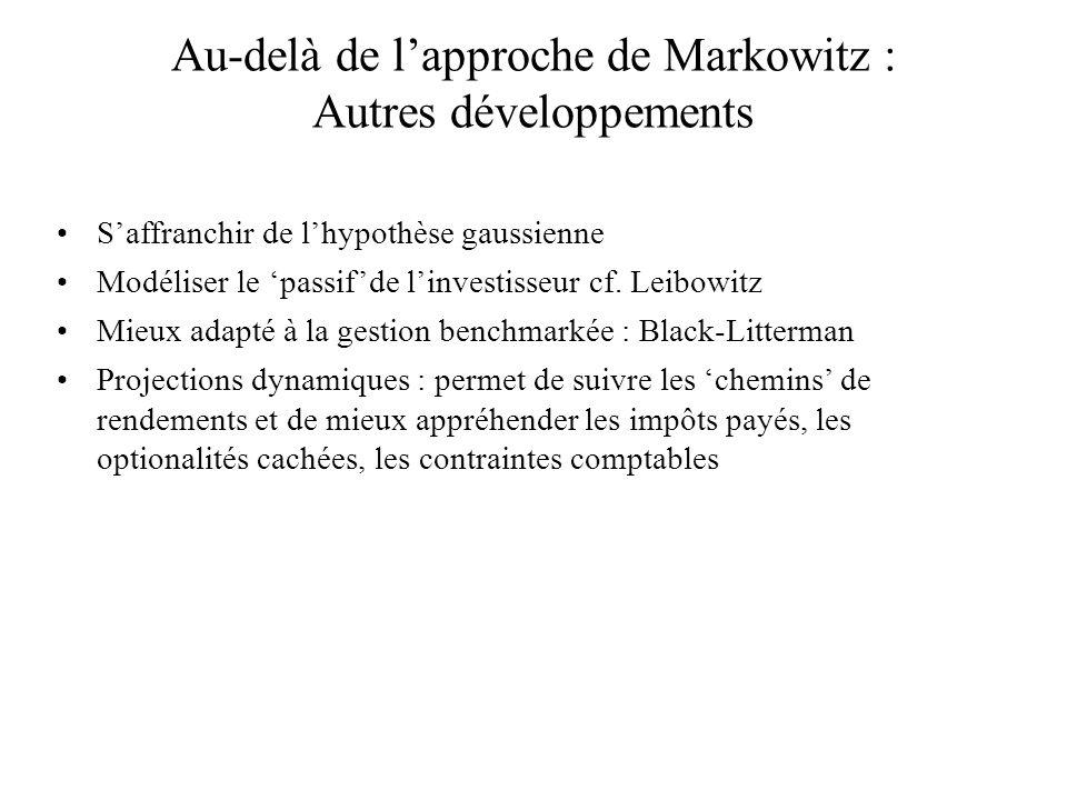Au-delà de l'approche de Markowitz : Autres développements