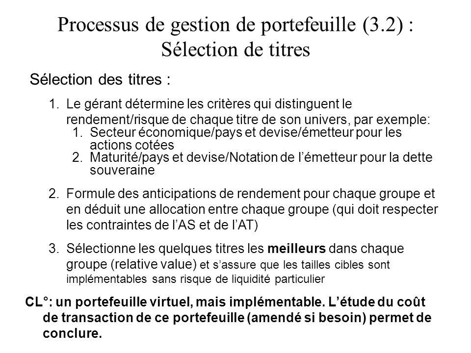 Processus de gestion de portefeuille (3.2) : Sélection de titres