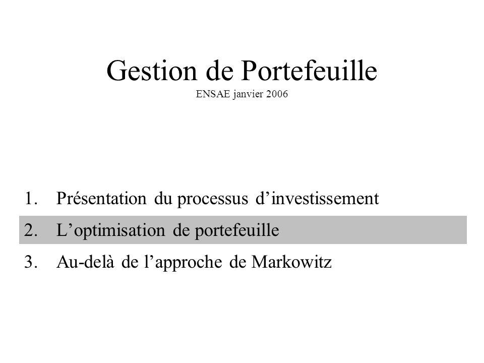 Gestion de Portefeuille ENSAE janvier 2006