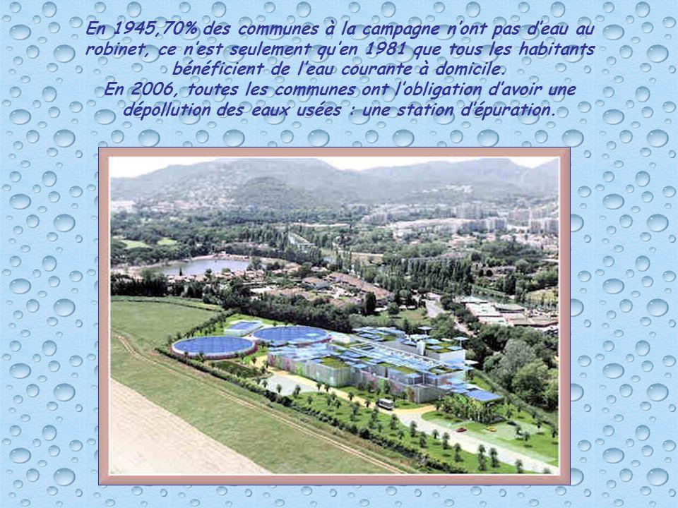 En 1945,70% des communes à la campagne n'ont pas d'eau au robinet, ce n'est seulement qu'en 1981 que tous les habitants bénéficient de l'eau courante à domicile.