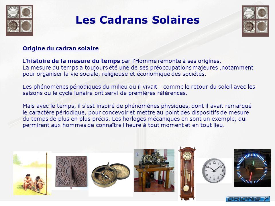 Les Cadrans Solaires Origine du cadran solaire