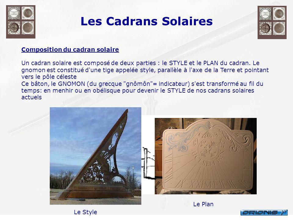 Les Cadrans Solaires Composition du cadran solaire